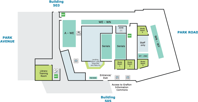 Map image: Philson Library (Medical and Health Sciences)