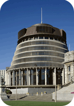 Old Parliament building and the Beehive, Wellington, North Island, New Zealand, Pacific. Credit: Adina Tovy / Robert Harding World Imagery / Universal Images Group.