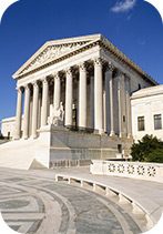 Low angle view of a government building, US Supreme Court Building, Washington DC, USA. Credit: Panoramic Images / Universal Images Group