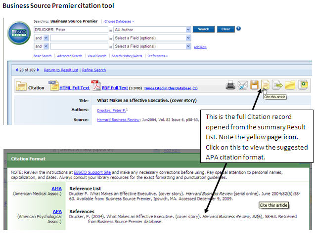 Citation Tool Within Business Source Premier  Business Reference List